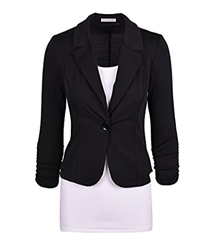 Auliné Collection Women's Casual Work Solid Color Knit Blazer Black Medium (Fitted Jacket Juniors)