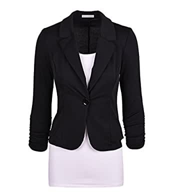 Auliné Collection Women's Casual Work Solid Color Knit Blazer Black Small