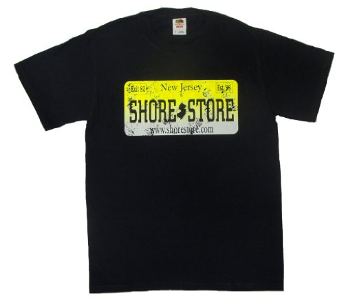 Shore Store Authentic Jersey Shore Merchandise License Plate Yellow Distressed T-Shirt 500 Medium Black (Jersey Shore Store)