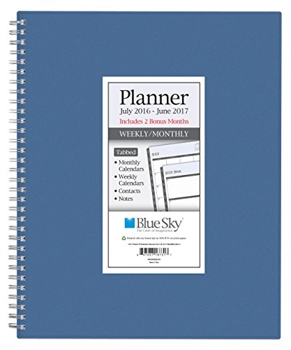 """Blue Sky 2016-2017 Academic Year Weekly & Monthly Planner, Wire-O Binding, 8.5"""" x 11"""", Blue Cover (18733)"""