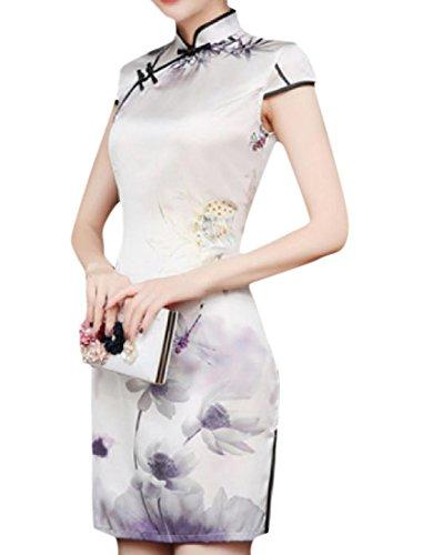 Fleurs Confortables Femmes Robes Imprimées Minces De Style Chinois Chic 6 Équipée