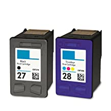 2 PK Compatible HP 27 HP 28 Ink for Deskjet 3320 3322 3325 3420 3425 3450 3520 3535 3550 3558 3620v 3645 3647 3650 3653 3658