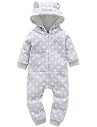 0-24 Months Christmas Outfit Toddler Infant Baby Boys Girls Thicker Hooded  Zipper Romper Jumpsuit 35cf5b88b