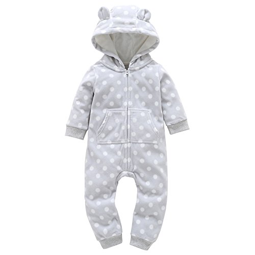 Sameno Christmas Baby Boys Girls Thicker Print Hooded Romper Jumpsuit Pajamas (White5, 12-18 Months) (Gray, 18-24 Months) - Tinkerbell Fleece Pajama