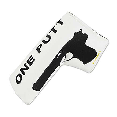 PINMEI One Putt Golf Putter Headcover Synthetic Leather Magnetic Closure Putter Cover for Scotty Cameron Odyssey Blade Taylormade Ping (Putter Gun)