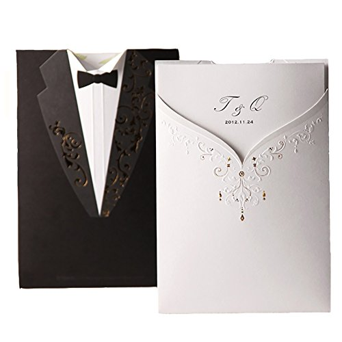 WISHMADE Wedding Invitations with Envelopes, Personalized Invites Cards Kit, Printed Inner Sheets, Black Tuxedo and White Dress Invitations, for Engagement Bridal Shower (50 Pack)