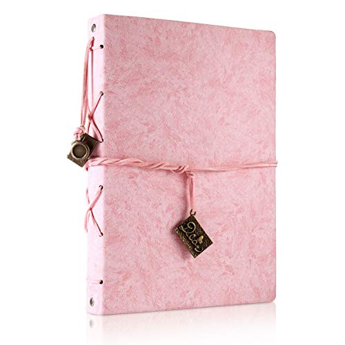 Scrapbook Leather Photo Album Wedding Guest Book DIY Memories Book with 60 Black Pages Present for Valentines Mothers Anniversary Day Birthday Christmas Gift for Wife Mum Daughter (Pink, Large)