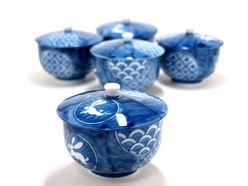 ARITA-KYOTO-SYOZUI 3.1inches Set of 5 Tea Cups Jiki Japanese Original Porcelain by Watou.asia
