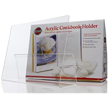 Norpro Cookbook Holder Durable Acrylic Stand Splatter Guard 12.5  X 9  X 3.25