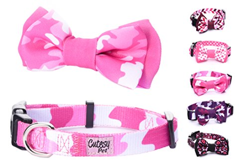 Cutesy Pet Dog Collar with Adjustable Bow | Comfortable and Strong | Pink Camo | 5 in 4 Different Sizes