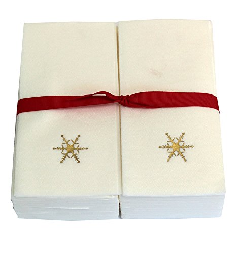 Disposable Guest Hand Towels Embossed with a Gold Snowflake - 50ct