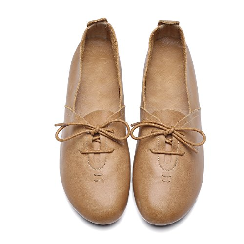 new Women's Beautiful Sweet Genuine Leather Flats Shoes Comfortable Soft Simple Design Round Toe Shoes Women on sale
