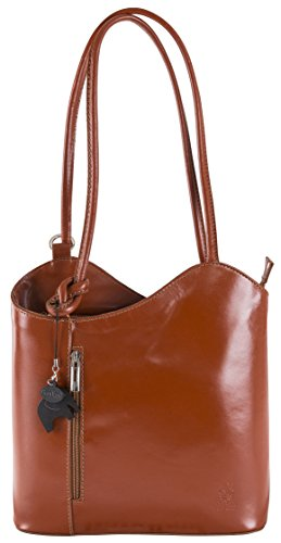 Piping Leather tracolla z Zaino con strutturata Shoulder Tan Womens Plain Soft Shoulder Bag Medium Non LiaTalia Libby Leather tCwRzx6Wq