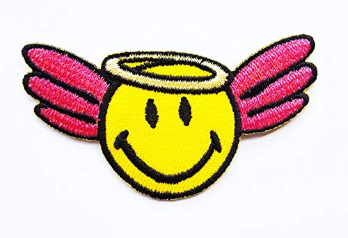 Smiley Face Retro Peace Hippie 70s Fun Logo for T-Shirt Jeans Bags Jacket Children Kids Embroidered Applique Craft Handmade Baby Kid Girl Women Clothes DIY Costume Accessory (Smile -
