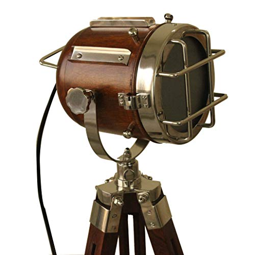 Vintage Searchlight Marine Nautical Look Spotlight Retro Brown Wooden Tripod Searchlight by Collectibles Buy (Image #3)