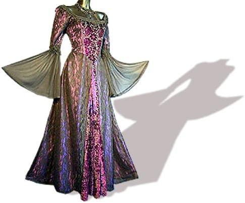 Mittelalter Gothic Kleid Spitze Samt Lang Lila Grosse M Amazon De Bekleidung