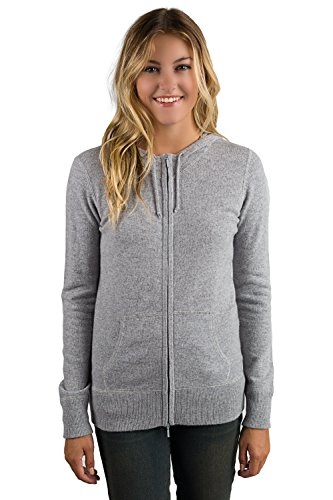 JENNIE LIU Women's 100% Pure Cashmere Long Sleeve Zip Hoodie Cardigan Sweater (L, Grey)