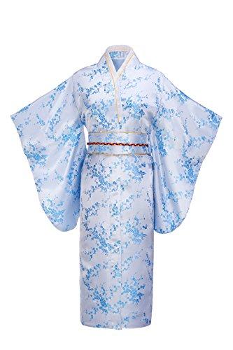 Joy Bridalc Women's Kimono Robe Japanese Traditional Brocade Cosplay Costume,Sky Blue