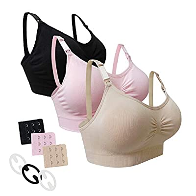 Desirelove Nursing Bra 3 Pack Maternity Seamless Bras with Removable Spill Prevention Pads