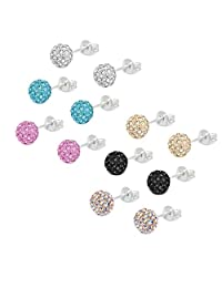 Pave Ball Stud Earrings, Lot of Crystal Fireball Disco Ball Earrings - 6 Pairs