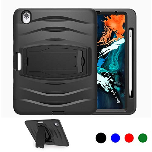 iPad Pro 11 Case, JTcase Heavy Duty Shockproof Rugged Protective Kickstand Case for Kids.Toddlers,Students for iPad Pro 11 Inch 2018 Model A1980/A2013/A1934/A1979,[Support iPad Pencil Charging] -Black