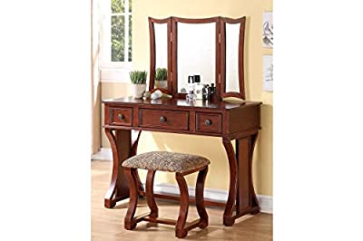 Vanity Table with 3-panel Mirror and Cushioned Stool (Cherry)