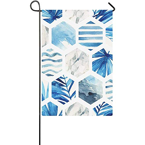 GRATIANUS Home Decorative Outdoor Double Sided Abstract Geometric Seamless Pattern On Light Backg Polyester Garden Flag Banner 12 x 18 Inch for Outdoor Home Garden Flower Pot Decor]()