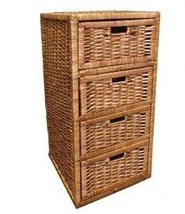 woodluv buff 4 drawer wicker storage unit e01 351 kitchen home. Black Bedroom Furniture Sets. Home Design Ideas