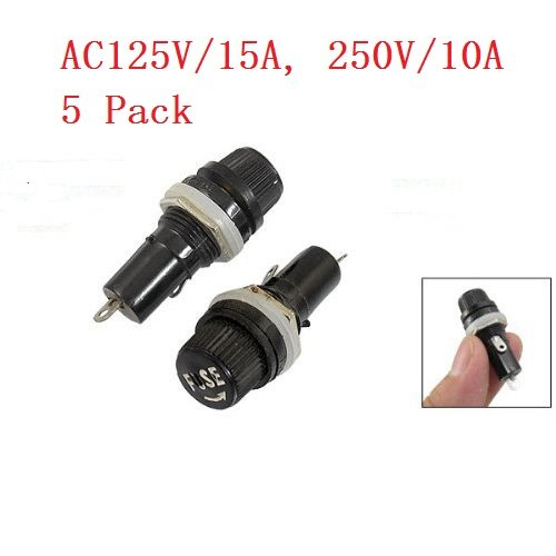 GFORTUN 5 Pack Electrical Black Fuse Holder Screw Cap Panel Mounted AC 125V//15A 250V//10A for 5 x 20mm