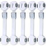 Image of The Ultimate Child Safety Lock Set (6 Pack + 12 Pads) | Reusable, Babyproofing Latches for Cupboards, Cabinets, Doors & Drawers with Adjustable Fabric Strap|Install In Seconds & Use Twice (Gray)