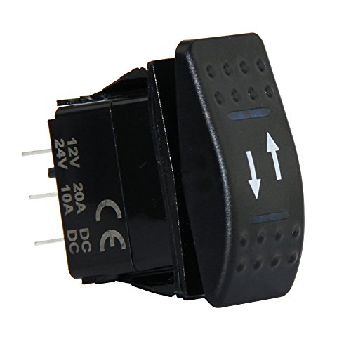4 Pin Marine Grade ON-OFF-ON/OPEN-CLOSE/IN-OUT Momentary Rocker Switch with Blue LED light and Etched Arrow Symbols DC 12V/20A, 24V/10A from U.S. SOLID (Symbol Switch)