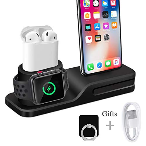 Apple Watch Stand, Wonsidary 3 in 1 Universal Silicone iWatch/iPhone/Airpods Holder Charging Docks Station for Apple Watch Series 3 2 1 AirPods iPhone X 8 8 Plus 7 6 iPad Mini