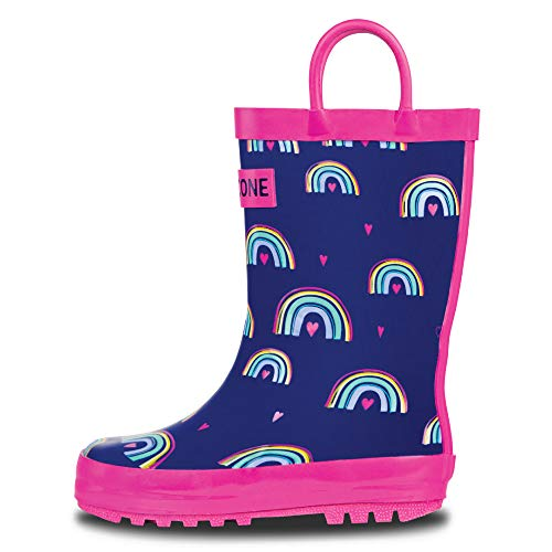 (LONECONE Rain Boots with Easy-On Handles in Fun Patterns for Toddlers and Kids, Hearts and Rainbows, 2 Little Kid)