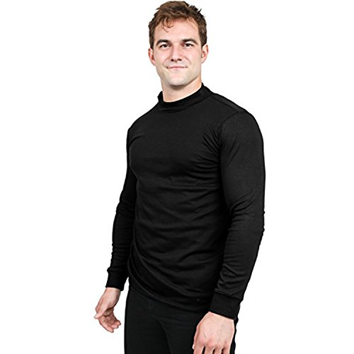 Utopia Wear Men's Cotton Blend Mock Turtleneck T-Shirt (Small, Black)