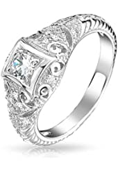 Bling Jewelry 925 Sterling Silver Art Deco Style CZ Solitaire Engagement Ring Vintage Style Milgrain