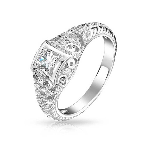 Bling Jewelry 925 Silver Art Deco Solitaire CZ Engagement Ring Vintage Milgrain (Size 7) (Vintage Birthstone Rings compare prices)