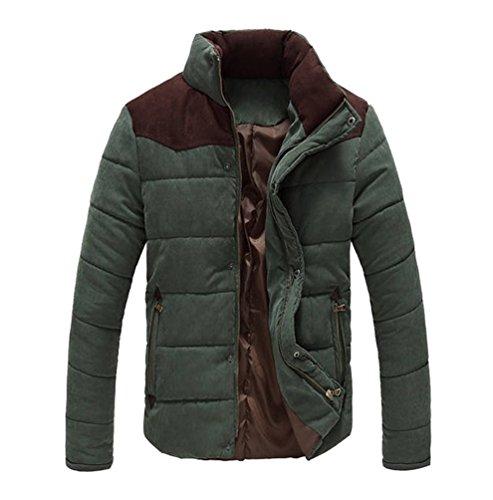 Homme Chaud Jacket Blouson Hiver Vert Courte Parka Foncé Manteaux Casual Manches Yilianda Longues B1nFgqqWZ