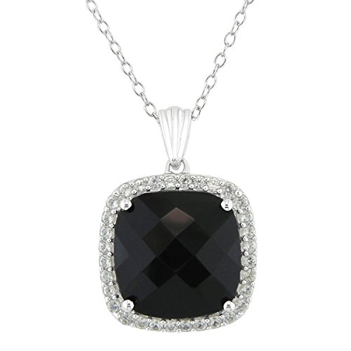 - 14mm 9ct Cushion Black Onyx Pendant Sterling Silver Created White Sapphire Halo
