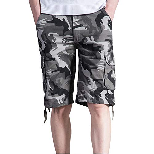 - Mens Army Cargo Cotton Shorts Camo Loose Fit Camouflage Short Multi-Pocket