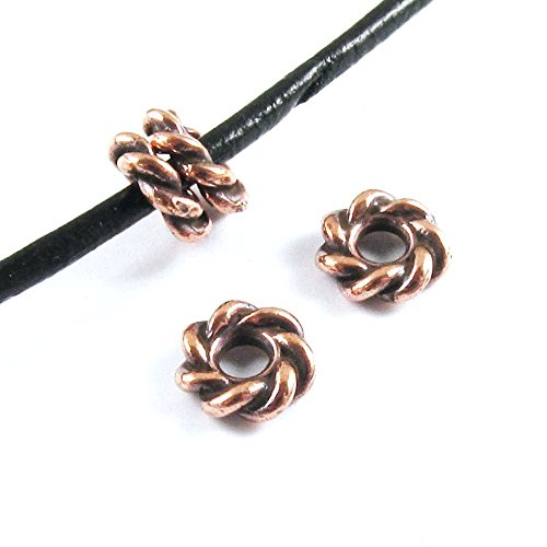 TierraCast Large 2.5mm Hole Pewter Beads-COPPER TWISTED SPACER 8mm (4) Twisted Spacer
