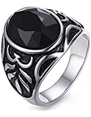 Men's Silver Ring with Black Zircon Stone Size 8