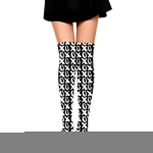 Knee High Socks Valentine's Day Hugs and Kisses XOs Cute Valentines Day 25.6 Inchs(65cm) Compression Sock Stockings for Women Girls