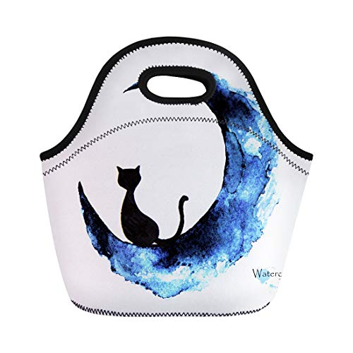 Semtomn Lunch Tote Bag Blue Halloween Watercolor Painting of Black Cat Sitting Moon Reusable Neoprene Insulated Thermal Outdoor Picnic Lunchbox for Men Women ()