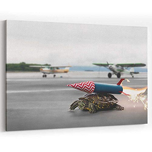 Ambitious Turtle with Rocket Propulsion Waiting to take Flight Canvas Art Wall Dector