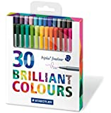 Staedtler Triplus Fineliner 334 Superfine Point Pens, 0.3 mm - Assorted Colours, Pack of 30