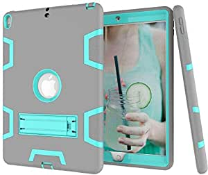"""Shockproof Kickstand Three Layer Armor Defender Scratches Fingerprints Case For Apple iPad Pro 2017 Version Model 9.7"""" Inch [Green and Grey]"""