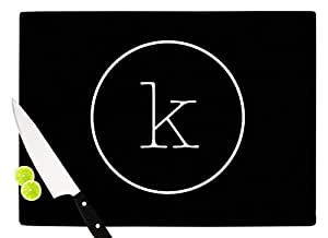 "KESS InHouse KIH201KCB01 KESS Original""Simple Black Monogram"" Cutting Board, 11.5 x 8.25"", Multicolor"