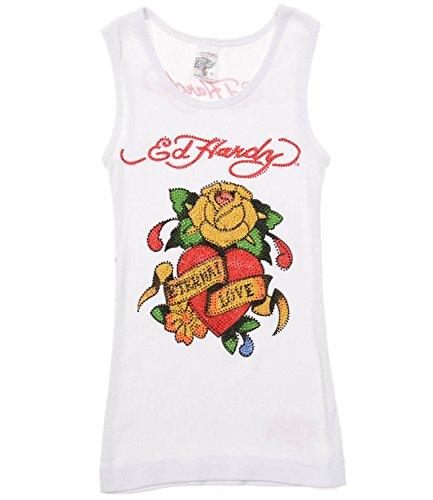 Ed Hardy Eternal Love Tank Top for Girls -White - (Ed Hardy Baby Girl)