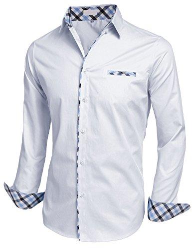 Misakia Men's Casual Dress Shirt Button Down Shirts (White - Dress Contrast Collar Shirt