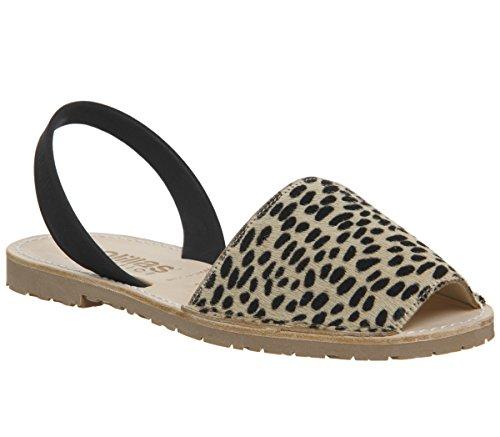 Solillas Original Women's Menorcan Sandals - Nubuck Leather Leopard Black Back Strap